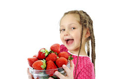 Strawberries girl Royalty Free Stock Photography