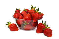 Strawberries in a glass bowl. Isolated on a white background Stock Image