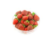 Strawberries in glass bowl Stock Photography