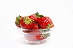 Strawberries in glass bowl isolated Stock Image