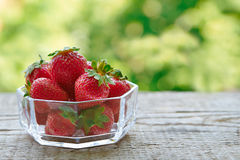 Strawberries in a glass bowl Royalty Free Stock Photos
