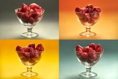 Strawberries in glass cups mosaic - four differently colored rectangles in one frame royalty free stock images