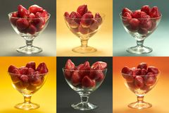 Strawberries in glass cups mosaic - six differently colored squares in one frame royalty free stock photos