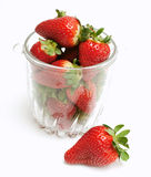 Strawberries in a glass dish Royalty Free Stock Image