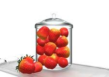 Strawberries in glass jar. Red strawberries in glass jar, over white background, 3D illustration, raster illustration Stock Photo