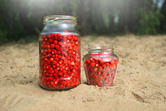 Strawberries in a glass jar Royalty Free Stock Photography
