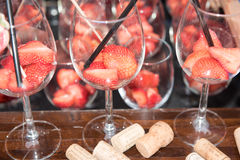 Strawberries in glasses ready for a cocktail Royalty Free Stock Photo