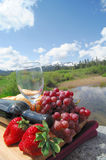 Strawberries, Grapes And Red Wine. Fruit and Wine picnic in a scenic mountain setting on a bright sunny day Stock Photos