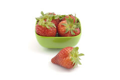 Strawberries in green dish Royalty Free Stock Photo