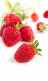 Strawberries with green leaf Stock Photos