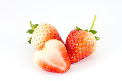 Strawberries with half of sliced section Royalty Free Stock Photography