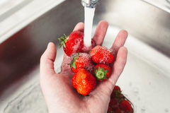 Strawberries in hands under the water. Pure fruit is health Stock Image