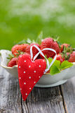 Strawberries with heart Royalty Free Stock Images