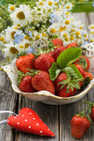 Strawberries with heart Royalty Free Stock Photography