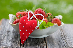 Strawberries with heart Royalty Free Stock Image