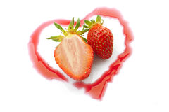 Strawberries heart one half Royalty Free Stock Photo