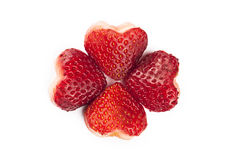 Strawberries on heart shaped Royalty Free Stock Image