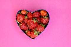 Strawberries in heart shaped box Royalty Free Stock Photography
