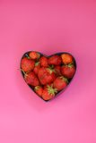 Strawberries in heart shaped box Royalty Free Stock Photo