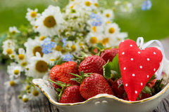 Strawberries with heart Royalty Free Stock Photos