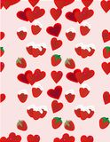 Strawberries and hearts background. Strawberries with whipped cream and hearts seamless Repeat Pattern Vector Illustration Background Royalty Free Stock Image