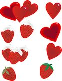 Strawberries and hearts illustration. Delicious strawberries with whipped topping, and vibrant hearts for clip-art or illustrations Royalty Free Stock Image