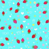 Strawberries and hearts seamless pattern. Seamless pattern with strawberries and hearts on the blue-green background Stock Photo