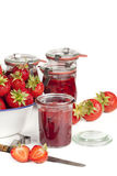 Strawberries and homemade jam Royalty Free Stock Photos