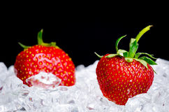 Strawberries in ice. Two ripe strawberries in a pile of ice on a black background royalty free stock image