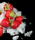 Strawberries and ice Royalty Free Stock Image