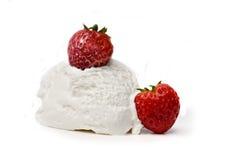 Strawberries and Ice Cream Stock Photos