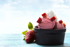 Strawberries and ice cream Stock Image