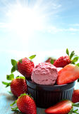Strawberries and ice cream Royalty Free Stock Images