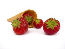 Strawberries with ice cream cone Royalty Free Stock Photography