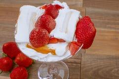 Strawberries ice cream. Strawberries with ice cream, strawberry dessert ice cream and cream Stock Photography