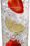 Strawberries in ice cubes Stock Photo