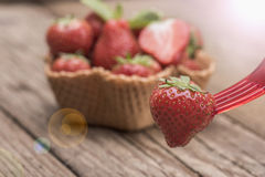 Strawberries in icecream cup Stock Photo