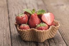 Strawberries in icecream cup Royalty Free Stock Photography