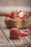 Strawberries in icecream cup Royalty Free Stock Images