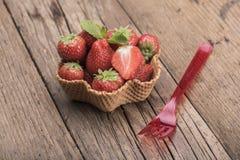 Strawberries in icecream cup Stock Photos