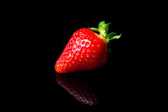 Strawberries isolated on black background Stock Photos