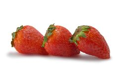 Strawberries isolated on white. Background with clipping path Royalty Free Stock Image