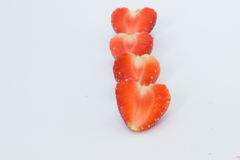 Strawberries isolated. White background,be fresh fruit in valentine`s day,concept strawberries line Stock Photos