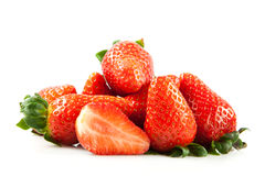 Strawberries isolated on white background food fruits Royalty Free Stock Photography