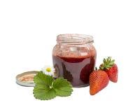 Strawberries jam. Strawberries fresh jam bowl leaf Royalty Free Stock Image