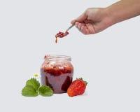 Strawberries jam. Strawberries fresh jam bowl leaf Stock Photography
