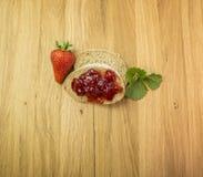 Strawberries jam. Strawberries fresh jam bowl leaf Stock Photo