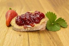 Strawberries jam. Strawberries fresh jam bowl leaf Royalty Free Stock Photos