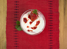 Strawberries jam yogourt. Strawberries fresh jam bowl leaf yogourt royalty free stock image