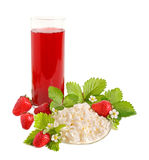 Strawberries juice and cottage cheese Stock Photo